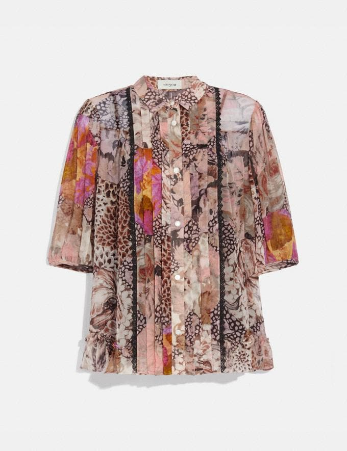 Coach Button Down Blouse With Kaffe Fassett Print Peach/Pink VIP SALE Women's Sale Ready-to-Wear