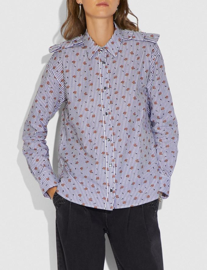 Coach Printed Shirt Navy/White New Women's New Arrivals Ready-to-Wear Alternate View 1