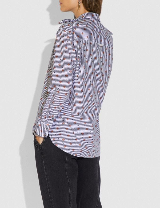Coach Printed Shirt Navy/White New Women's New Arrivals Ready-to-Wear Alternate View 2