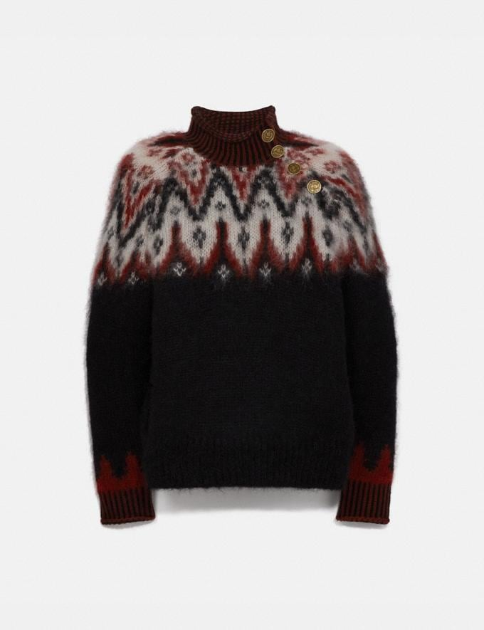 Coach Fair Isle Turtleneck Sweater Black