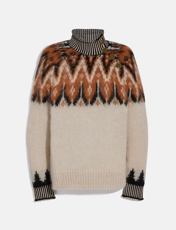 Coach Fair Isle Turtleneck Sweater Ivory