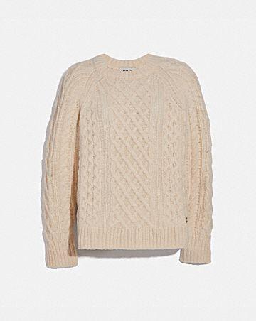 aran crewneck sweater