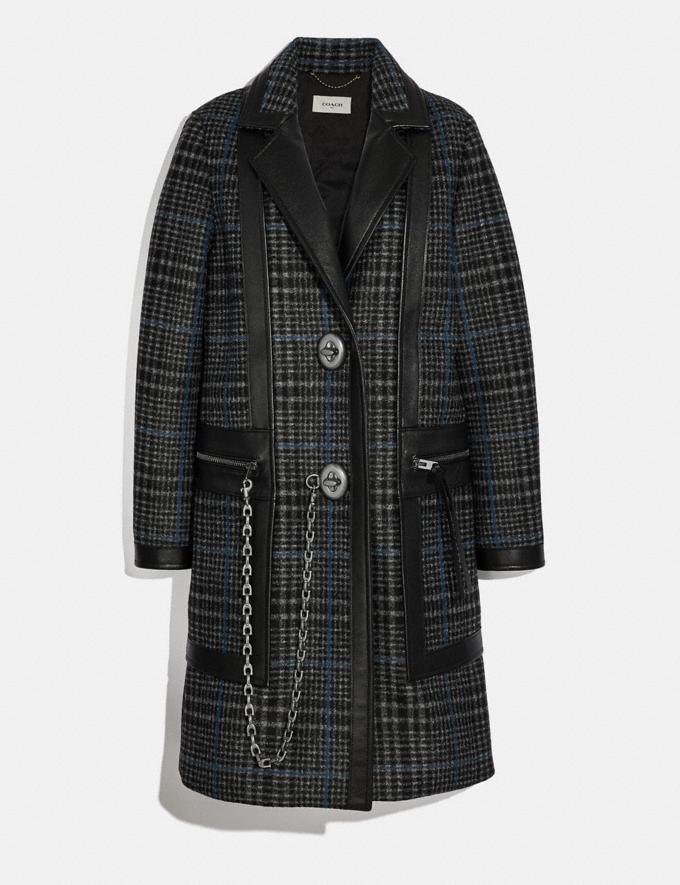 Coach Tailored Wool Coat With Leather Detail Grey/Blue