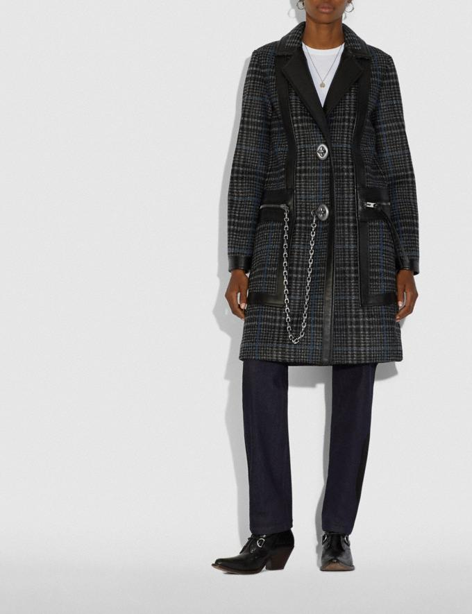 Coach Tailored Wool Coat With Leather Detail Grey/Blue  Alternate View 1