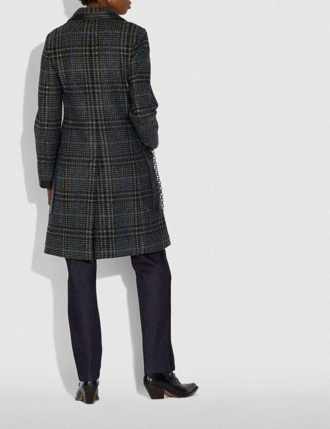 Coach Tailored Wool Coat With Leather Detail Grey/Blue  Alternate View 2