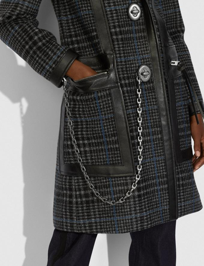 Coach Tailored Wool Coat With Leather Detail Grey/Blue  Alternate View 3