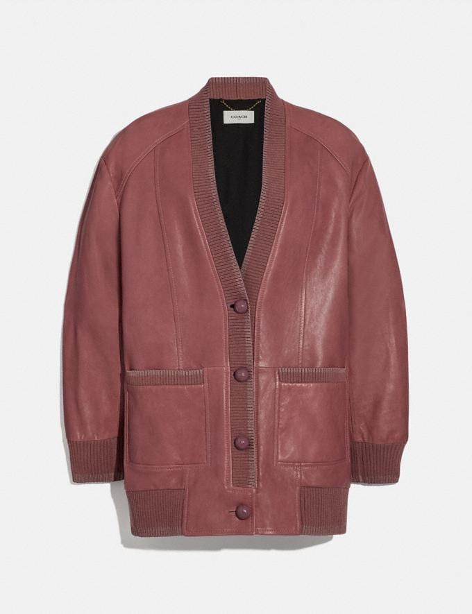 Coach Leather Cardigan Pink
