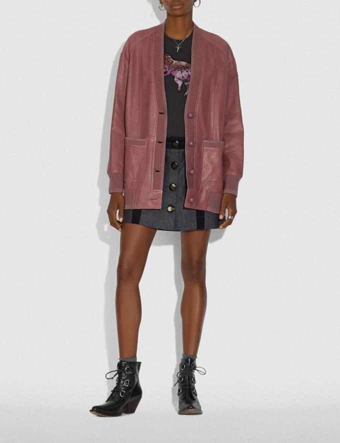 Coach Leather Cardigan Pink  Alternate View 1