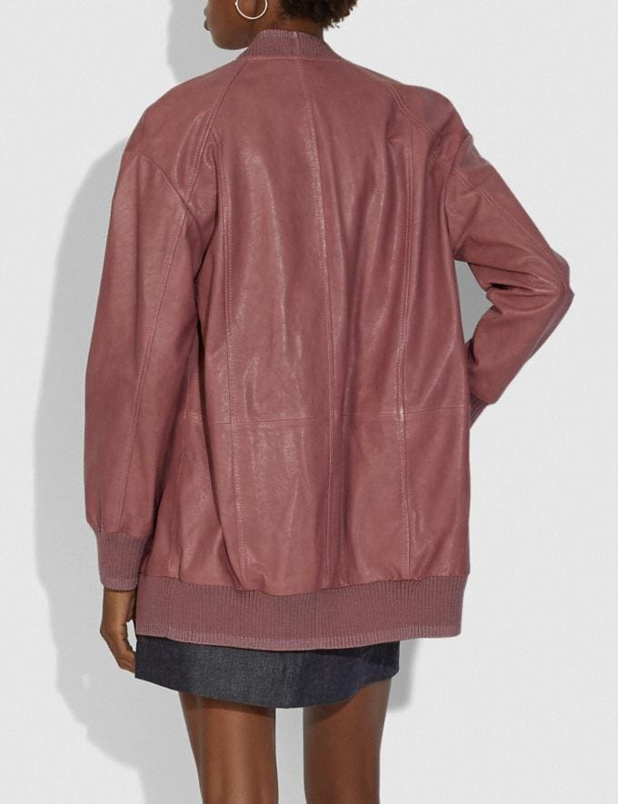 Coach Leather Cardigan Pink  Alternate View 2
