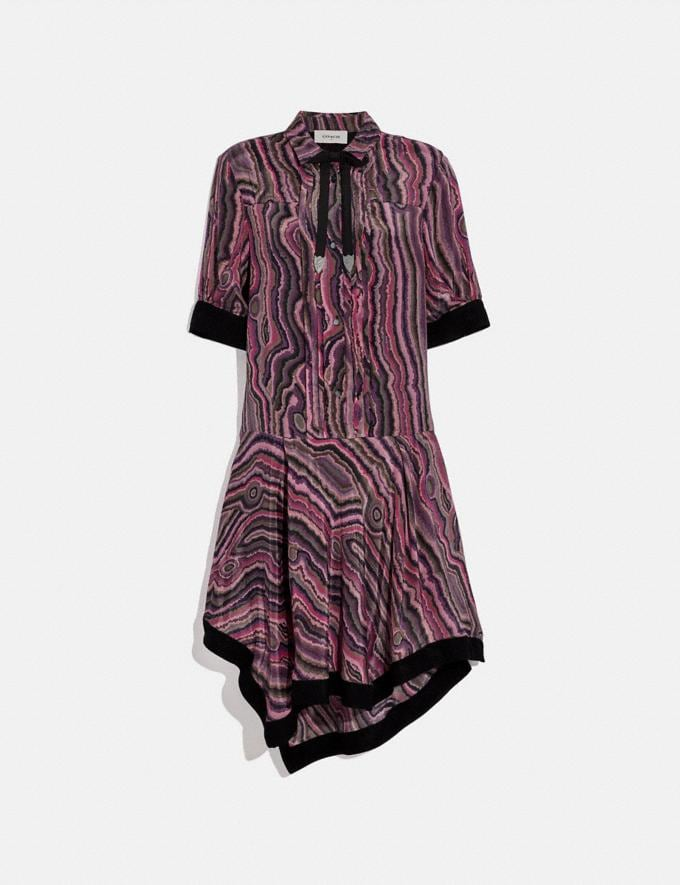 Coach Shirt Dress With Kaffe Fassett Print Wine/Pink Women Ready-to-Wear Dresses