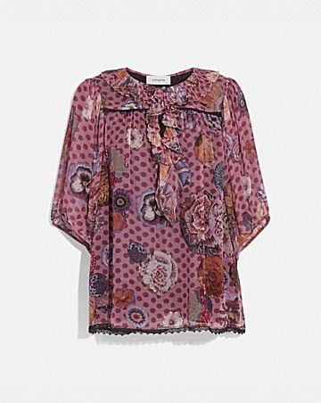 short sleeve blouse with kaffe fassett print