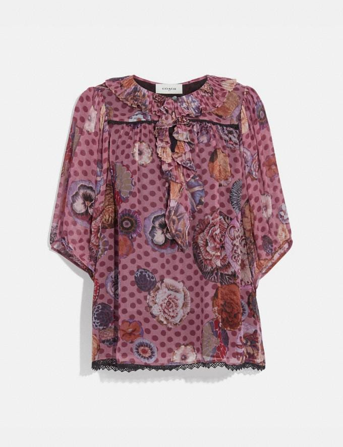 Coach Short Sleeve Blouse With Kaffe Fassett Print Pink/Orange Women Ready-to-Wear Tops