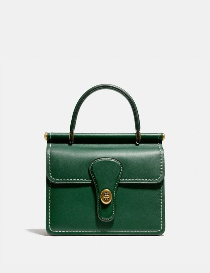 Coach Willis Top Handle 18 Brass/Hunter Green Women