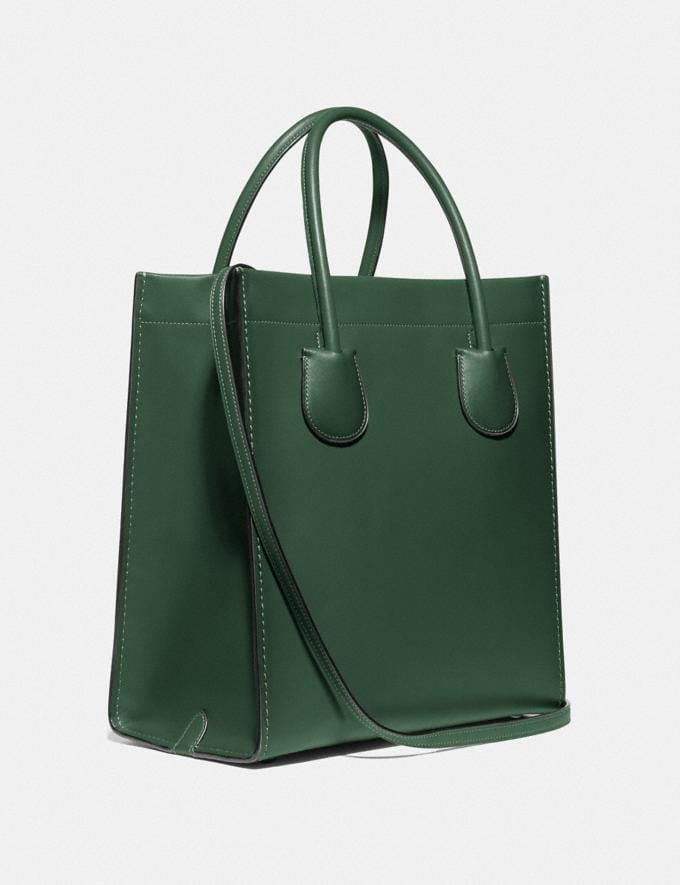 Coach Cashin Carry Tote Brass/Hunter Green Women Edits Work Alternate View 1