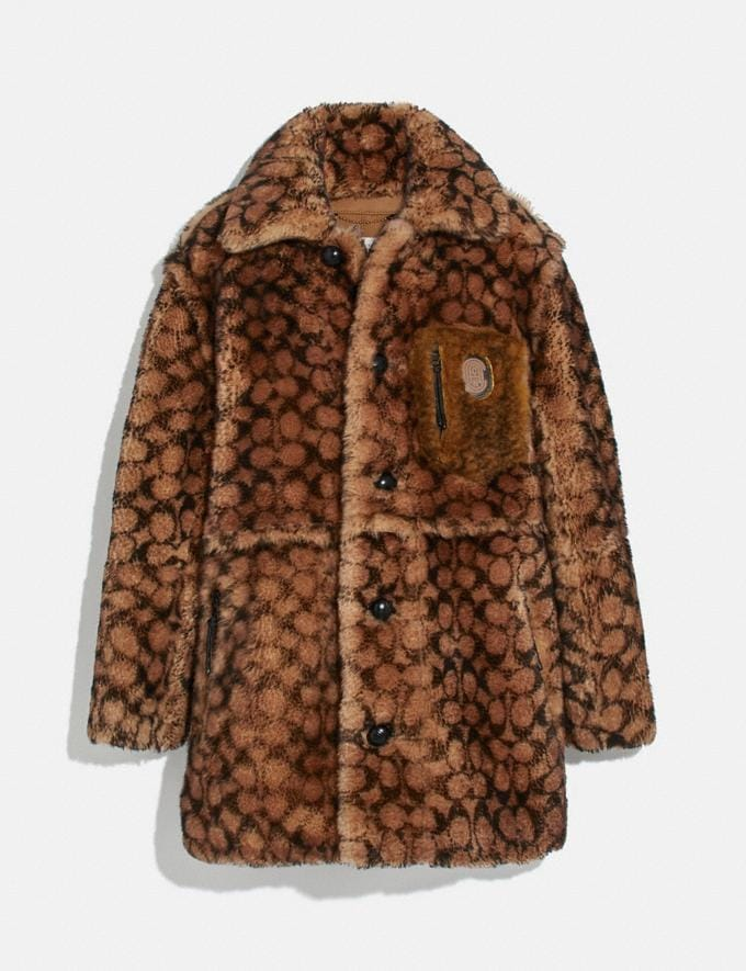 Coach Signature Shearling Coat Tan Signature Multi New Men's New Arrivals Ready-to-Wear