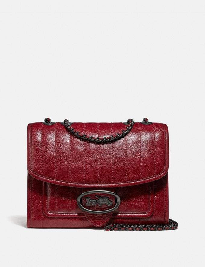 Coach Melody Shoulder Bag With Quilting Pewter/Deep Red