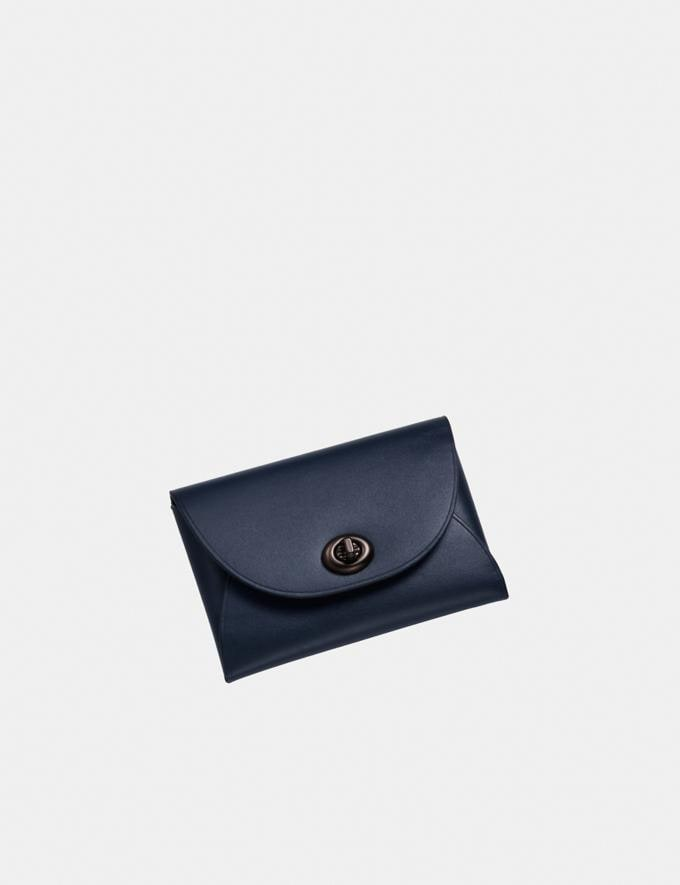 Coach Complimentary Card Case Pewter/Midnight Navy SALE Shop by Price Under £150