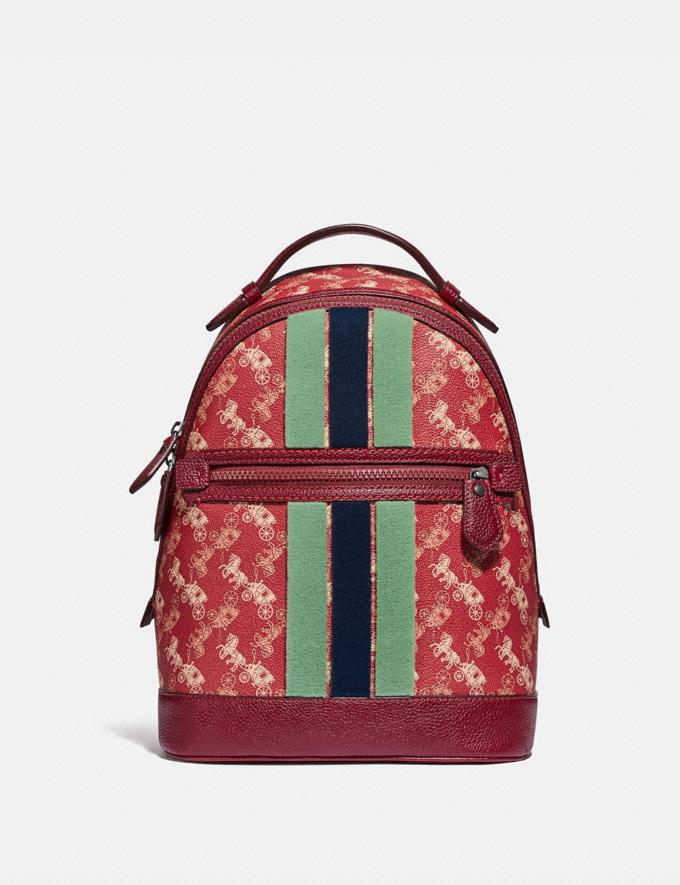 Coach Barrow Backpack With Horse and Carriage Print and Varsity Stripe Pewter/Red Deep Red PRIVATE SALE Women's Sale Bags