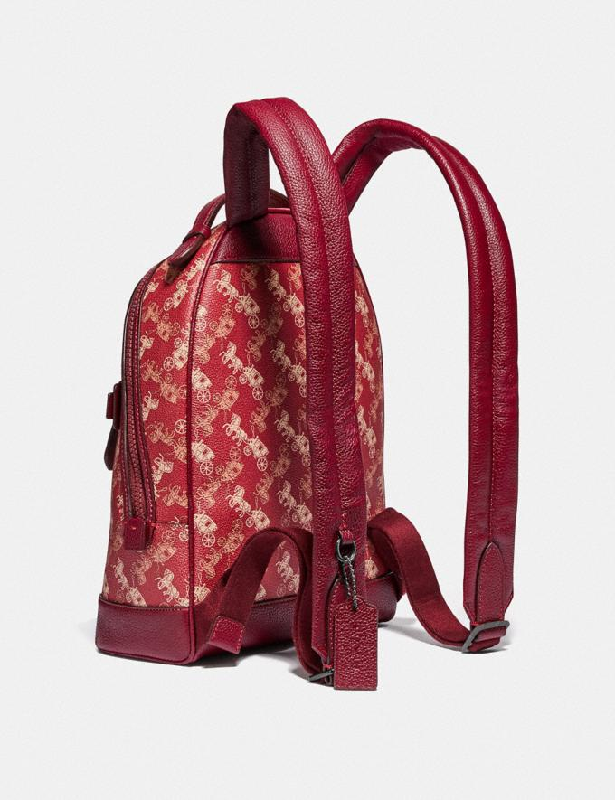 Coach Barrow Backpack With Horse and Carriage Print and Varsity Stripe Pewter/Red Deep Red PRIVATE SALE Women's Sale Bags Alternate View 1