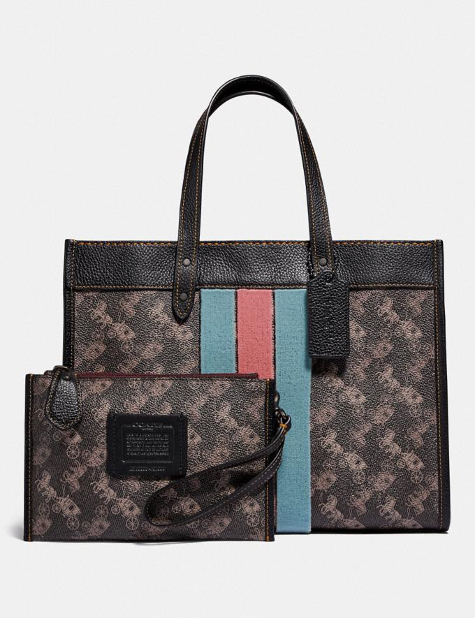 Coach Field Tote 30 With Horse and Carriage Print and Varsity Stripe V5/Brown Black New Women's New Arrivals Alternate View 3
