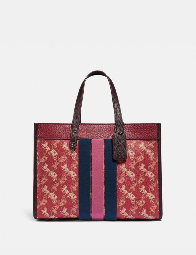 Coach Field Tote 30 With Horse and Carriage Print and Varsity Stripe V5/Red Deep Red Multi VIP SALE Women's Sale Bags