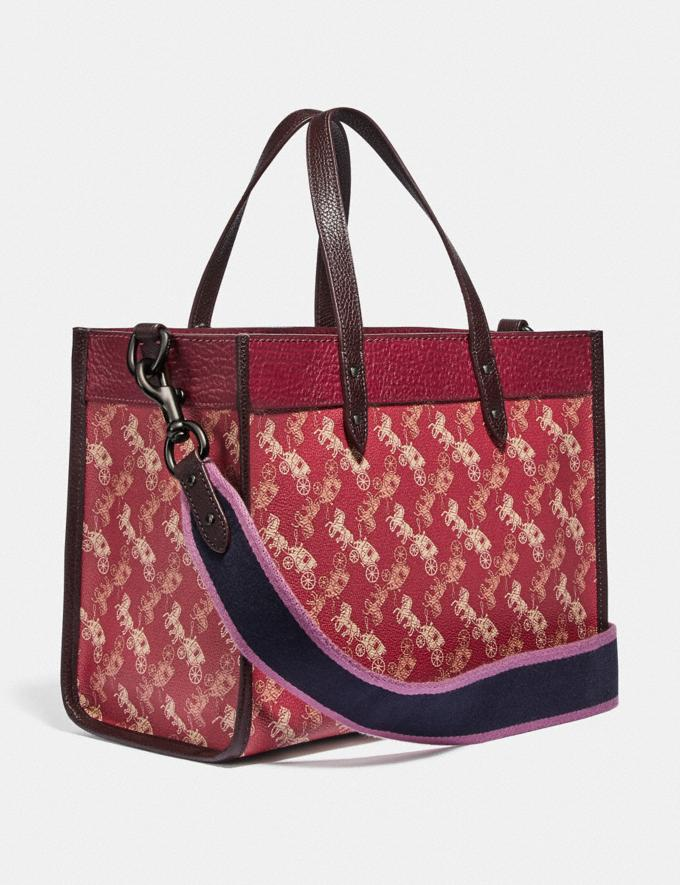 Coach Field Tote 30 With Horse and Carriage Print and Varsity Stripe V5/Red Deep Red Multi Women Bags Totes Alternate View 1