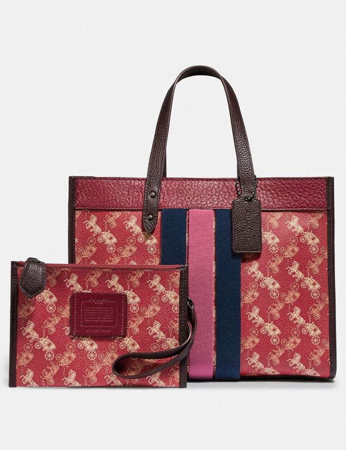 Coach Field Tote 30 With Horse and Carriage Print and Varsity Stripe V5/Red Deep Red Multi Women Bags Totes Alternate View 3