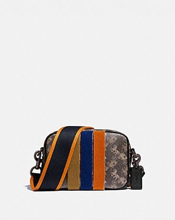camera bag 16 with horse and carriage print and varsity stripe