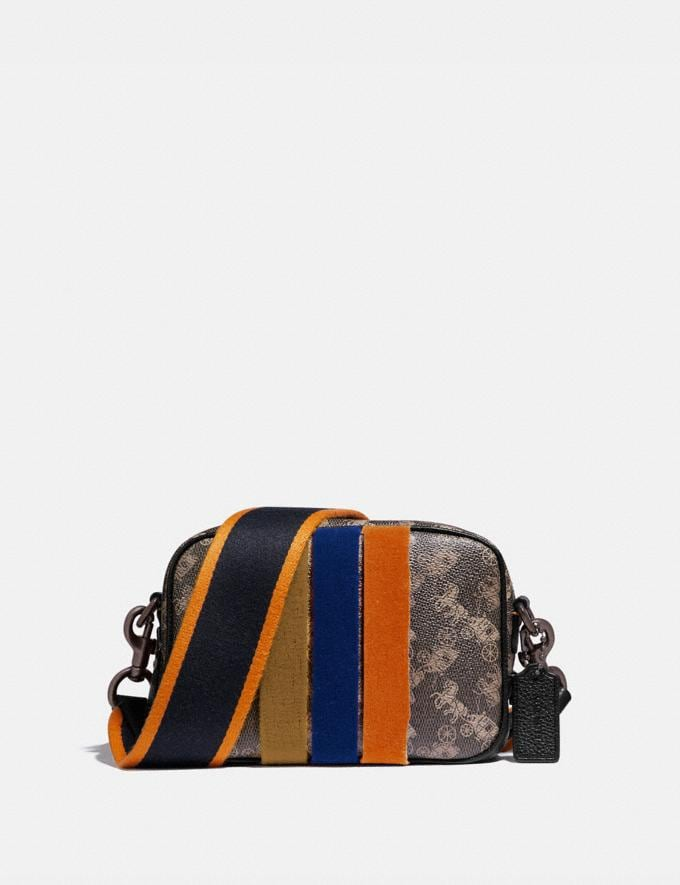 Coach Camera Bag 16 With Horse and Carriage Print and Varsity Stripe Pewter/Brown Black Women Bags Crossbody Bags