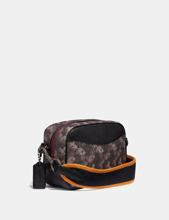 Coach Camera Bag 16 With Horse and Carriage Print and Varsity Stripe Pewter/Brown Black Women Bags Crossbody Bags Alternate View 1