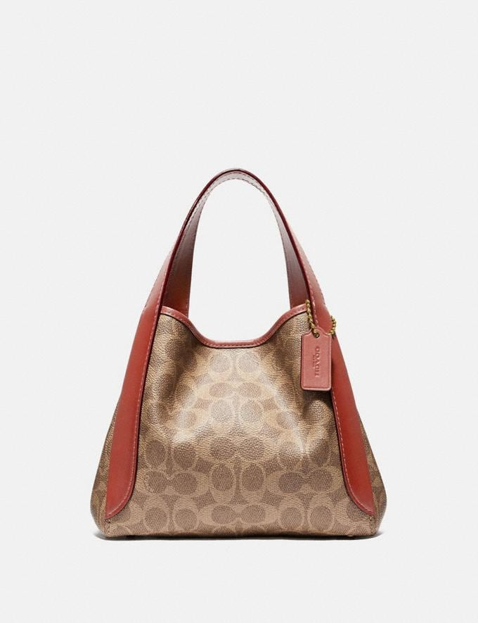 Coach Hadley Hobo 21 in Signature Canvas Brass/Tan Rust Women Collection Signature