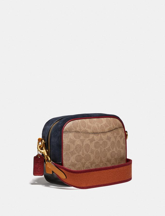 Coach Camera Bag in Signature Canvas With Coach Patch B4/Tan Black Multi Women Bags Crossbody Bags Alternate View 1