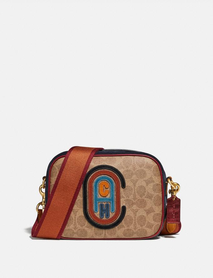 Coach Camera Bag in Signature Canvas With Coach Patch B4/Tan Black Multi Women Bags Crossbody Bags