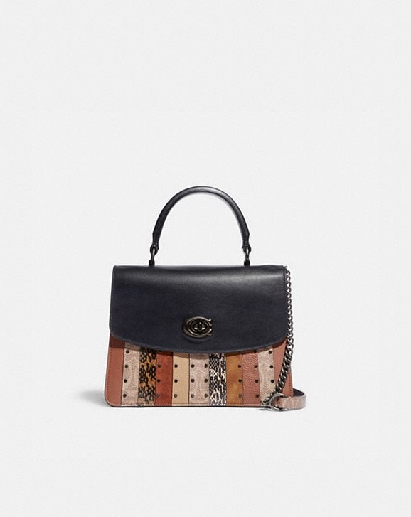 Coach PARKER TOP HANDLE WITH SIGNATURE CANVAS PATCHWORK STRIPES AND SNAKESKIN DETAIL