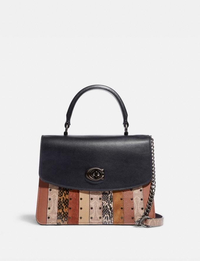 Coach Parker Top Handle With Signature Canvas Patchwork Stripes and Snakeskin Detail Pewter/Tan Black Multi SALE Women's Sale New to Sale New to Sale