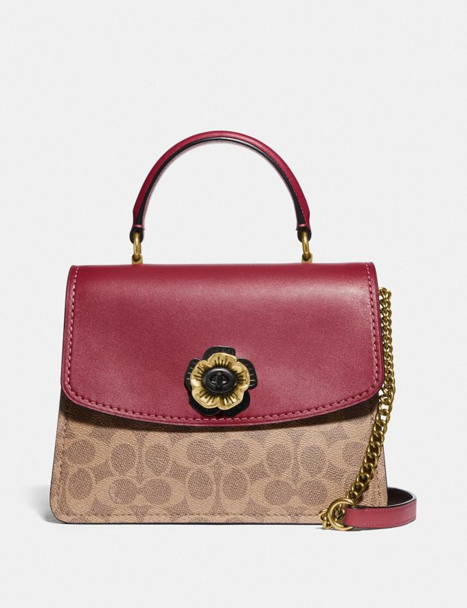 Coach Parker Top Handle in Colorblock Signature Canvas Brass/Tan Dusty Pink Personalise For Her Bags