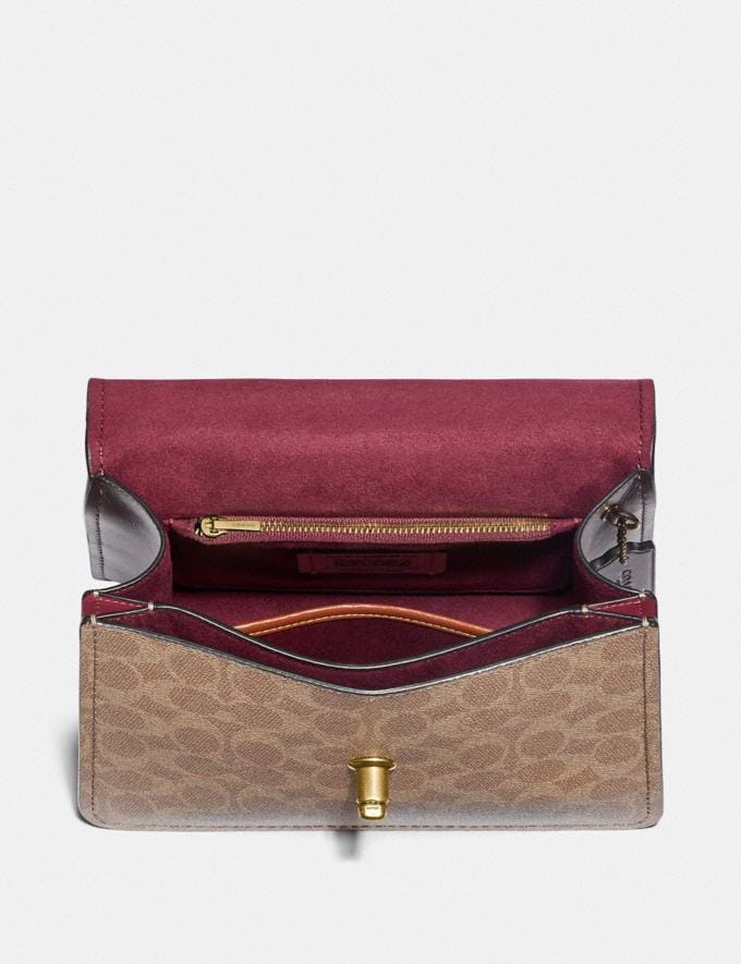 Coach Parker Top Handle in Colorblock Signature Canvas Brass/Tan Dusty Pink Personalise For Her Bags Alternate View 2