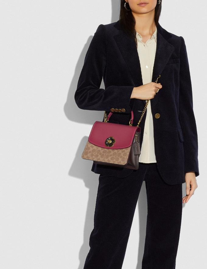 Coach Parker Top Handle in Colorblock Signature Canvas Brass/Tan Dusty Pink Personalise For Her Bags Alternate View 4
