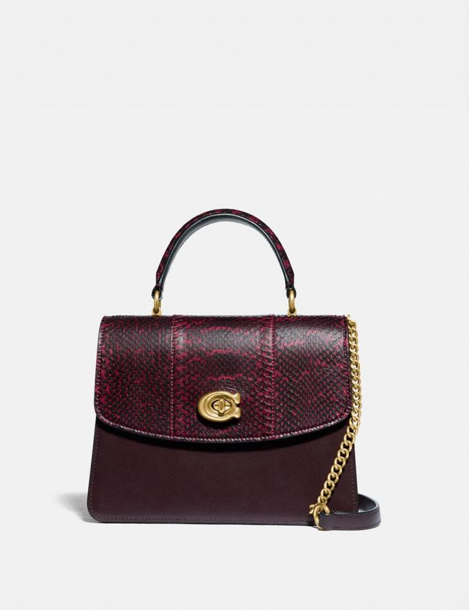Coach Parker Top Handle in Blocked Snakeskin Brass/Deep Red SALE Women's Sale Bags