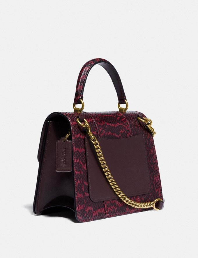 Coach Parker Top Handle in Blocked Snakeskin Brass/Deep Red SALE Women's Sale Bags Alternate View 1