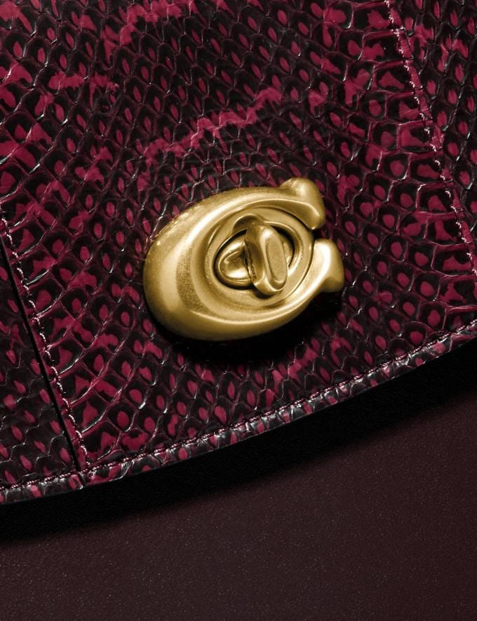 Coach Parker Top Handle in Blocked Snakeskin Brass/Deep Red SALE Women's Sale Bags Alternate View 6