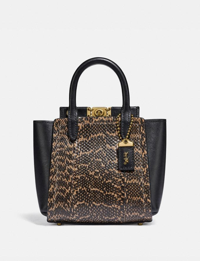 Coach Troupe Tote 16 in Snakeskin Brass/Black Bags Collection Troupe