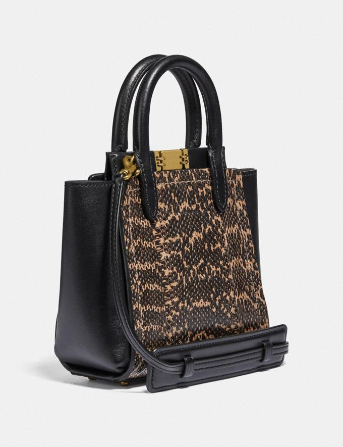 Coach Troupe Tote 16 in Snakeskin Brass/Black Women Bags Satchels Alternate View 1