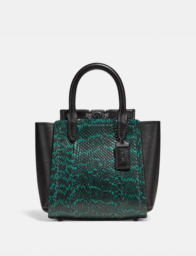 Coach Troupe Tote 16 in Snakeskin Pewter/Pine Green Women Handbags Satchels & Top Handles