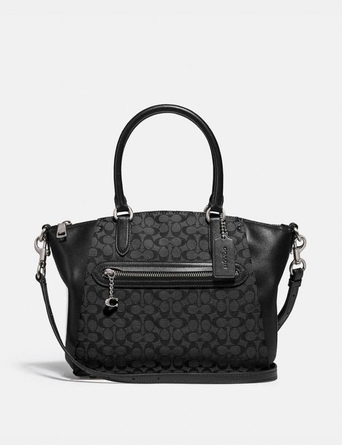 Coach Elise Satchel in Signature Jacquard Silver/Black/Black Women Handbags Satchels & Top Handles