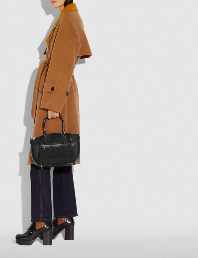 Coach Elise Satchel in Signature Jacquard Silver/Black/Black Women Handbags Satchels & Top Handles Alternate View 4