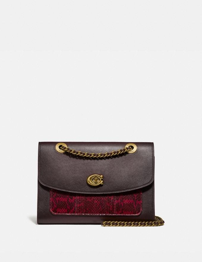Coach Parker With Snakeskin Detail Brass/Deep Red