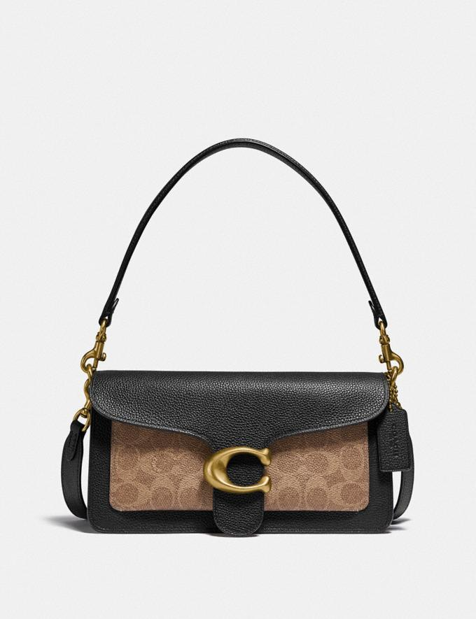 Coach Tabby Shoulder Bag 26 in Signature Canvas Brass/Tan Black New Featured Signature Styles