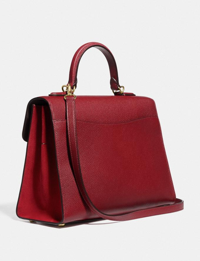 Coach Tabby Top Handle Brass/Deep Red Women Handbags Satchels & Top Handles Alternate View 1