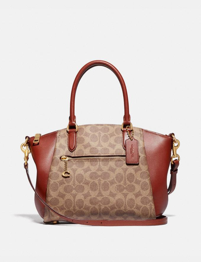 Coach Elise Satchel in Signature Canvas B4/Tan Rust New Women's New Arrivals